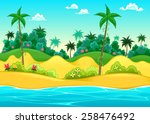 landscape on the seashore.... | Shutterstock .eps vector #258476492
