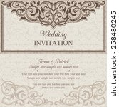 baroque wedding invitation card ... | Shutterstock .eps vector #258480245