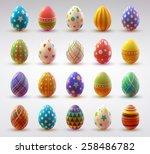set of realistic eggs on white... | Shutterstock .eps vector #258486782