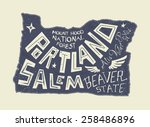oregon state stylized map.... | Shutterstock .eps vector #258486896