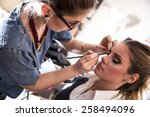 make up artist work in her... | Shutterstock . vector #258494096