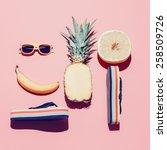 summer beach set. fashion...   Shutterstock . vector #258509726