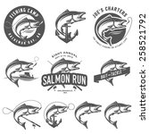 vintage salmon fishing emblems... | Shutterstock .eps vector #258521792