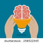 brain design over blue...   Shutterstock .eps vector #258522545