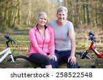 mature couple on cycle ride in... | Shutterstock . vector #258522548