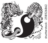 yin yang symbol with tiger and...   Shutterstock .eps vector #258526862