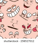 cartoon face seamless background | Shutterstock . vector #258527012