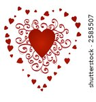 red heart with curly ornament ... | Shutterstock .eps vector #2585507