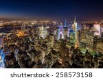 new york city skyline aerial...   Shutterstock . vector #258573158
