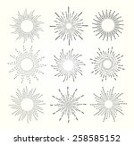 vintage hand drawn star bursts  ... | Shutterstock .eps vector #258585152