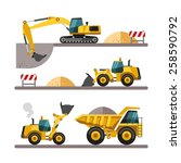 Set of building machines. Construction equipment and machinery - excavator, truck, loader. Vector illustrations in flat style. - stock vector