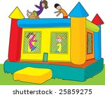 art,astrojump,bounce,bouncy,boy,castle,child,clip,colorful,entertainment,fun,girl,grass,house,illustration