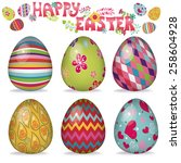 easter eggs with ornaments... | Shutterstock .eps vector #258604928