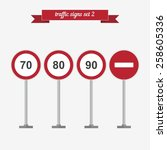 traffic signs set 2. flat style ... | Shutterstock .eps vector #258605336