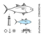 tuna fish   vector illustration. | Shutterstock .eps vector #258608246