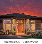beautiful luxury home exterior... | Shutterstock . vector #258629792