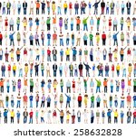 multiethnic casual people... | Shutterstock . vector #258632828