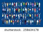 multiethnic casual people... | Shutterstock . vector #258634178