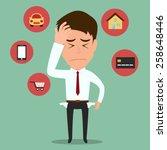 businessman no money vector... | Shutterstock .eps vector #258648446