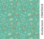 seamless pattern with space ... | Shutterstock .eps vector #258650618
