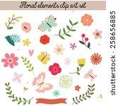 floral elements clip art set.... | Shutterstock . vector #258656885