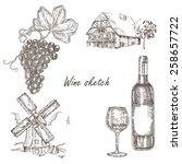 wine set. hand drawn bottle of... | Shutterstock .eps vector #258657722