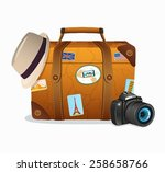 vintage travel suitcase with... | Shutterstock .eps vector #258658766