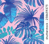 summer exotic floral tropical... | Shutterstock .eps vector #258659375