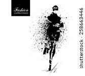 Fashion girl in sketch-style. Vector illustration. | Shutterstock vector #258663446