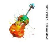 watercolor violin   Shutterstock .eps vector #258667688