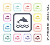 dolphin flat icons set. open... | Shutterstock .eps vector #258687662