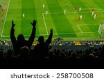 soccer fans in a match. furious ... | Shutterstock . vector #258700508