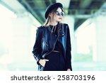 fashion model in sunglasses ... | Shutterstock . vector #258703196