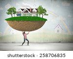 young girl student carrying... | Shutterstock . vector #258706835