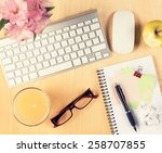 office table with notepad ... | Shutterstock . vector #258707855