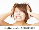closeup stressed young woman... | Shutterstock . vector #258708428