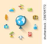 illustration flat set icons of...   Shutterstock .eps vector #258709772