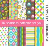 set of 10 seamless bright fun... | Shutterstock .eps vector #258713756
