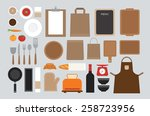 set of mock up kitchen tool... | Shutterstock .eps vector #258723956