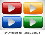 set of colorful play buttons