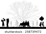 silhouette of people on the... | Shutterstock .eps vector #258739472