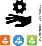 hand being caught in a gear... | Shutterstock .eps vector #258753872