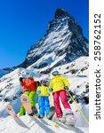 family winter ski holidays in... | Shutterstock . vector #258762152