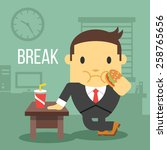 office worker eating hamburger. ... | Shutterstock .eps vector #258765656