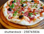 Big Hot Pizza With Olives And...