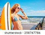 surfer girl posing with her... | Shutterstock . vector #258767786