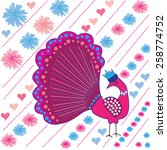 colorful peacock with flowers... | Shutterstock .eps vector #258774752