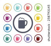 cappuccino flat icons set. open ... | Shutterstock . vector #258793145