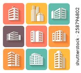 set of dimensional buildings ... | Shutterstock .eps vector #258796802