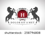Stock vector vintage emblem with horses with a place for your text 258796808